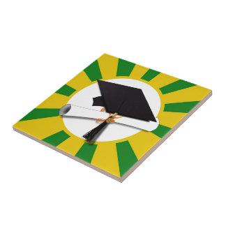 Graduation Cap - School Colors Gold and Green Ceramic Tile