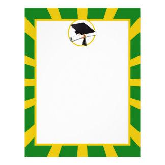 Graduation Cap - School Colors Gold and Green Letterhead