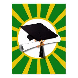 Graduation Cap - School Colors Gold and Green Postcard