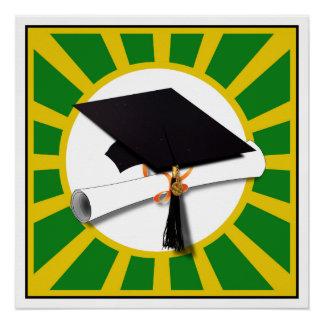 Graduation Cap - School Colors Gold and Green Poster