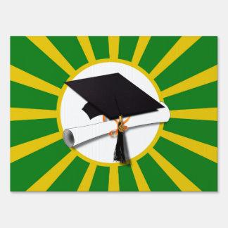 Graduation Cap - School Colors Gold and Green Yard Sign