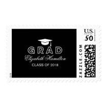Graduation Cap Simple Elegant Black & White Grad Postage