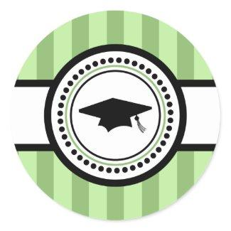 Graduation Cap Stripes Label (Sage Green) sticker