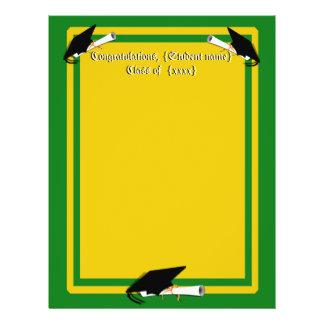 Graduation Cap Tilt School Colors Green And Gold Flyer