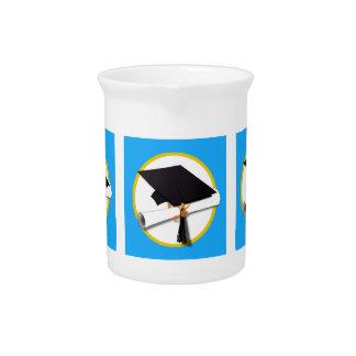 Graduation Cap w/Diploma - Blue Background Beverage Pitcher