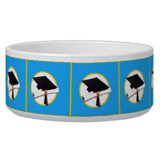 Graduation Cap w/Diploma - Blue Background Bowl