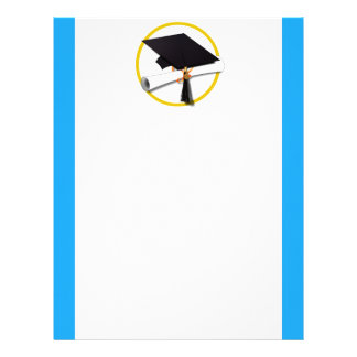 Graduation Cap w/Diploma - Blue Background Letterhead