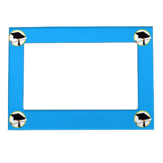 Graduation Cap w/Diploma - Blue Background Magnetic Photo Frame