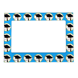 Graduation Cap w/Diploma - Blue Background Magnetic Picture Frame
