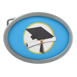Graduation Cap w/Diploma - Blue Background Oval Belt Buckle