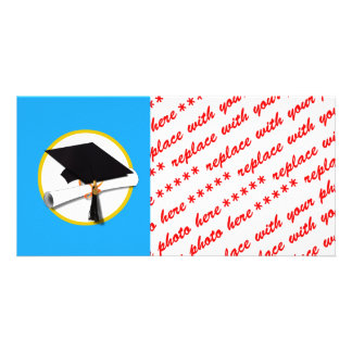 Graduation Cap w/Diploma - Blue Background Customized Photo Card