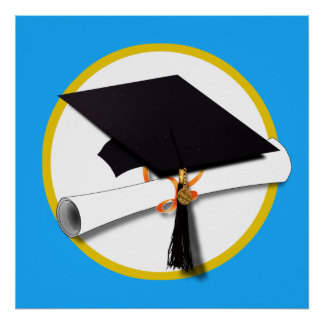 Graduation Cap w/Diploma - Blue Background Poster