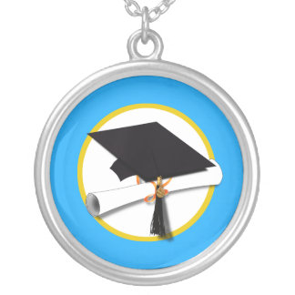 Graduation Cap w/Diploma - Blue Background Silver Plated Necklace