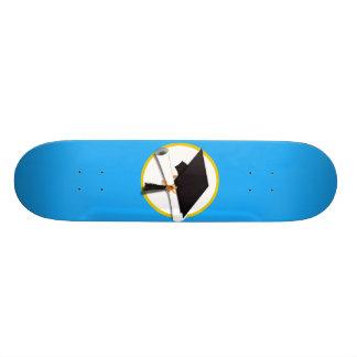 Graduation Cap w/Diploma - Blue Background Custom Skate Board