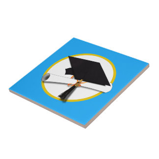 Graduation Cap w/Diploma - Blue Background Tile