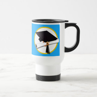 Graduation Cap w/Diploma - Blue Background Travel Mug