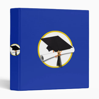 Graduation Cap w/Diploma - Dark Blue Background Binder