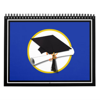 Graduation Cap w/Diploma - Dark Blue Background Calendar