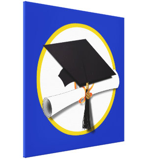 Graduation Cap w/Diploma - Dark Blue Background Canvas Print
