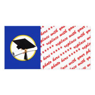 Graduation Cap w/Diploma - Dark Blue Background Card