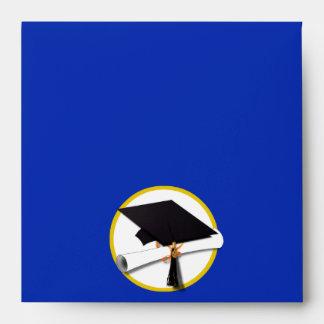 Graduation Cap w/Diploma - Dark Blue Background Envelope