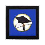 Graduation Cap w/Diploma - Dark Blue Background Jewelry Boxes
