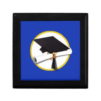 Graduation Cap w/Diploma - Dark Blue Background Keepsake Box