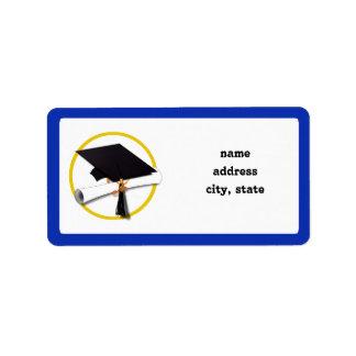 Graduation Cap w/Diploma - Dark Blue Background Label