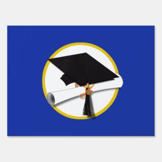 Graduation Cap w/Diploma - Dark Blue Background Lawn Sign