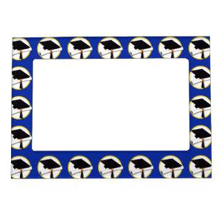 Graduation Cap w/Diploma - Dark Blue Background Magnetic Frame