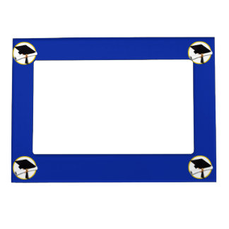 Graduation Cap w/Diploma - Dark Blue Background Magnetic Picture Frame