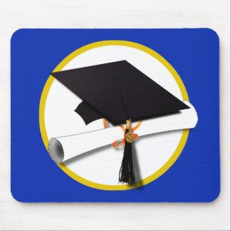Graduation Cap w/Diploma - Dark Blue Background Mouse Pad