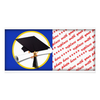 Graduation Cap w/Diploma - Dark Blue Background Photo Card
