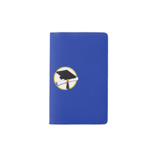 Graduation Cap w/Diploma - Dark Blue Background Pocket Moleskine Notebook