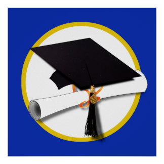 Graduation Cap w/Diploma - Dark Blue Background Poster