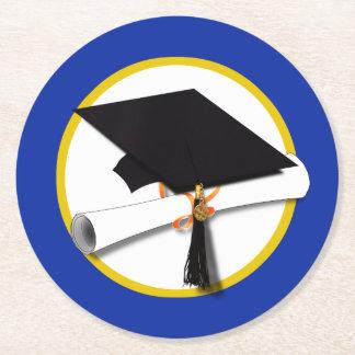 Graduation Cap w/Diploma - Dark Blue Background Round Paper Coaster