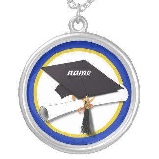 Graduation Cap w/Diploma - Dark Blue Background Round Pendant Necklace