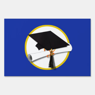 Graduation Cap w/Diploma - Dark Blue Background Sign