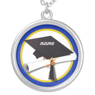 Graduation Cap w/Diploma - Dark Blue Background Silver Plated Necklace