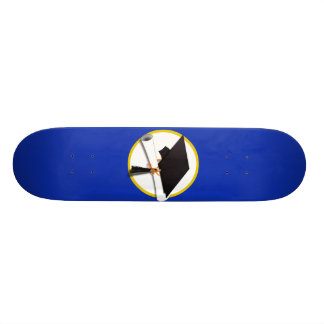 Graduation Cap w/Diploma - Dark Blue Background Skate Board Decks