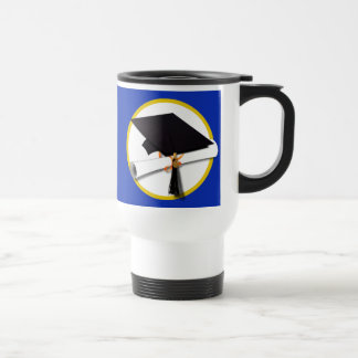 Graduation Cap w/Diploma - Dark Blue Background Travel Mug