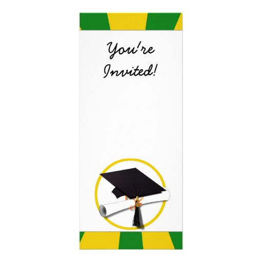 Graduation Cap w/Diploma - Gold &  Green Personalized Announcements