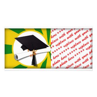 Graduation Cap w/Diploma - Gold &  Green Photo Card