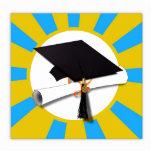 Graduation Cap w/Diploma - Gold & Light Blue Photo Sculptures