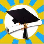 Graduation Cap w/Diploma - Gold & Light Blue Acrylic Cut Outs