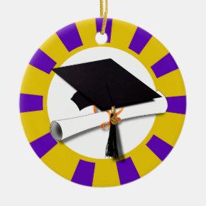 Graduation Cap w/Diploma - Gold & Purple Ceramic Ornament
