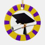 Graduation Cap w/Diploma - Gold & Purple Christmas Tree Ornaments