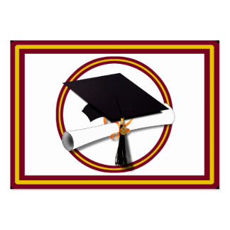 Graduation Cap w/Diploma - Gold &  Red Large Business Cards (Pack Of 100)