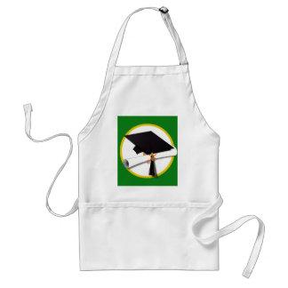 Graduation Cap w/Diploma - Green Background Adult Apron