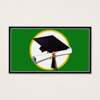 graduation cap wdiploma green background business card